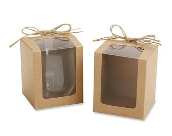 12 Kraft 9oz. Stemless Glassware Gift Boxes and Natural-Twine Bow Party Favor Boxes