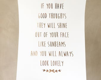 Roald Dahl Quote Good Thoughts - Good thoughts Foil Print - Typography print - Calligraphy Foil Print - Rose Gold
