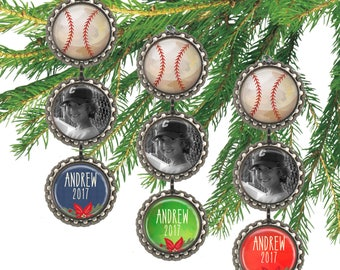 Boys baseball Christmas ornament, personalized photo ornament, baseball ornament, sports, custom name, date,  picture ornament.