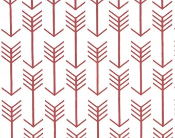 Arrow White and Coral Cotton Fabric for Premier Prints - 1 yard