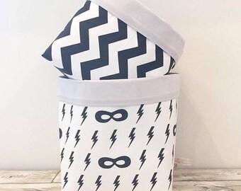 Superhero Fabric Baskets - Pair - Nappy Basket, Diaper Caddy, Nursery Storage, Playroom, Toy Storage, Nursery Decor - Monochrome Black White