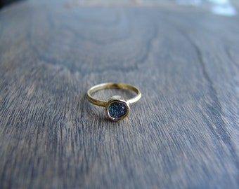 Gorgeous Gray / Emerald Green Druzy Agate Stacking Ring