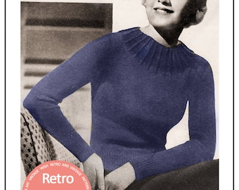 1930's Yoked Sweater Pattern - Instant Download - PDF knitting pattern - 1930s knitting pattern