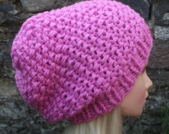 Pink hat- Hand Knit Hat- Womens Hat -Slouchy -Beanie hat- pink- chunky knit winter hat- Womens Accessories Knit Accessories