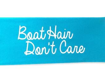 Bright Blue Boat Hair Don't Care Spandex Headband