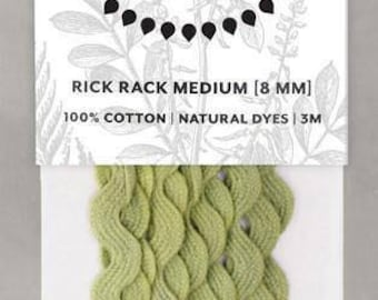Naturally Dyed 8mm Rick Rack-Leaf Green