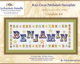 Circus Name Sampler // Boy Cross Stitch //Patchwork Sampler // Baby Sampler // Personalized Cross Stitch Nameplate // Sampler