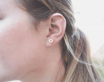 Rose gold Initial Earrings , rose gold earrings, Handstamped earrings, personalised earrings