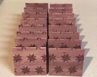 Mini Cards 16 Wood Quilt Star - 3 x 3