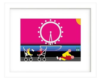 Contemporary, modern, colourful, London eye, Digital Print