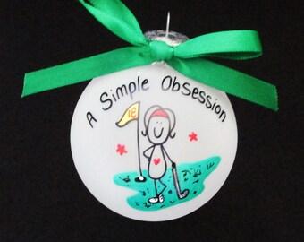 Golfing ornament,custom personalized golf ornament,handpainted,hand painted,glass ornament,gift for golfer,golfer,golfing,female golfer
