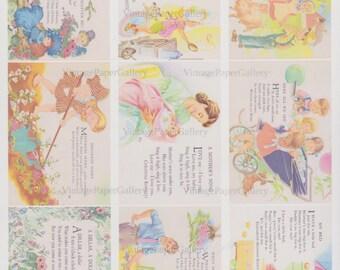 NURSERY RHYME DOWNLOAD Mother Goose Nursery Rhyme Instant Download Gift Tags Digital Download Collage Sheet 9 Printable Images