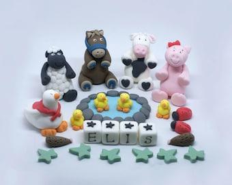 Handmade Sugar Personalised Animal Farm Birthday Cake Topper Decoration