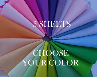 "SALE!!! 100 Percent Wool Felt Sheets - 5 Sheets of 8"" X 12"" Felt - You Pick Color - Merino Wool Felt - 100% Wool Felt"