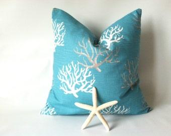 Aqua Coral Pillow Cover - 20 x 20, One, Aqua Beach Pillows, Ocean Decor, Beach Decor, Turquoise Nautical