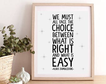 Dumbledore Quote Prints, Harry Potter Quote Poster,Harry Potter Wall Decor,Albus Dumbledore Inspirational Quote,Albus Dumbledore Quote Print