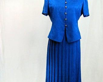 Vintage ~ 1980s ~ Two Piece Dress ~ Silk ~ Royal Blue ~ Papell Too ~ Medium ~ 12 ~ Petites
