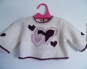 "Baby girl (3-6 months) sweater hand knitted in Alpaca ""beautiful like a heart"""