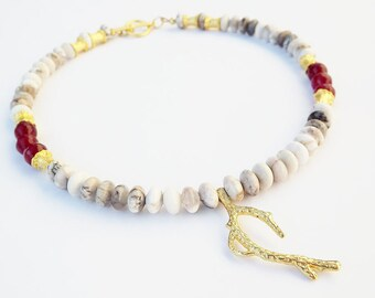 Turkish Beaded Necklace with Organic Textured Coral Branch Pendant   - New Mexican Agate and Red Agate - 16 inch