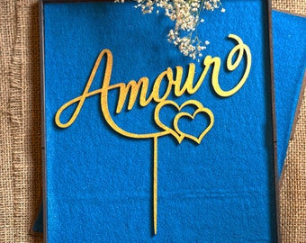 Amour Wedding Cake Topper
