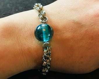 Handmade Chain Link Bracelet with large blue glass bead