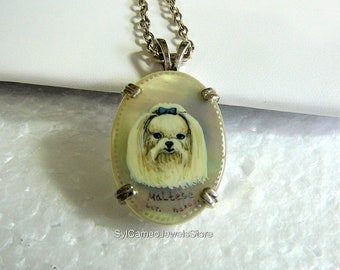 Hand Painted White Maltese Dog Cameo Necklace Sterling Pendant SylCameoJewelsStore