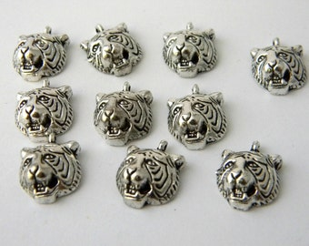 Tiger Head Charms Set of 10 Silver Color 18x13mm