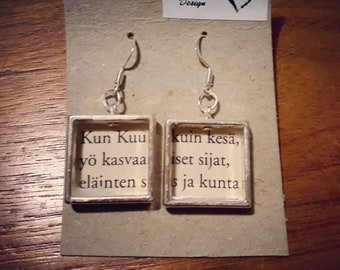 Poetry Book Earrings Finnish