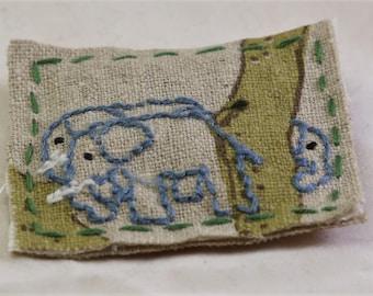 Textile brooch - fabric brooch - textile pin - fabric pin - elephant brooch - elephant pin - embroidered brooch - animal brooch