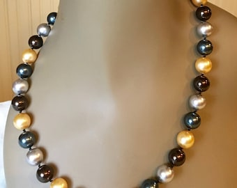 Tahitian or South Seas multicolor faux pearl necklace, Swarovski crystal pearls, handknotted, sterling silver, like Nancy Pelosi's