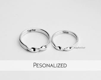 Folding Couple Rings | Mobius Wedding Set | Engraved Commitment Rings | Customized Silver Mobius Jewelry | Engravable Couples Rings