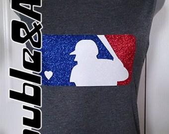 Glitter Baseball Heart Women's Muscle Sleeve Tank Bling Baseball Mom Shirt, Red White Blue Glitter