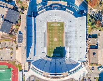"""Aerial Art of """"MSU Spartan Stadium"""" & East Lansing, Michigan - Michigan State University"""