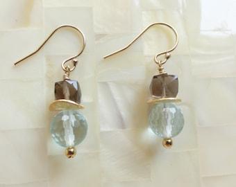 Smoky Quartz and Blue Quartz Dangle Earrings (E1253)