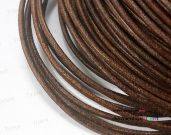 9 Feet 3mm Distressed Dark Brown Genuine Leather Cords, Round Real Cowhide Leather Color RLG3M-238