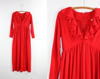Vintage Red Maxi Dress / Long Sleeve Plunge Ruffle Gown / MONTGOMERY WARD 60's Empire Waist S