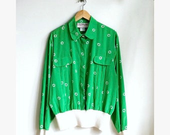 Vintage Kelly Green Dot Blouse / Pleated 70s Blouse with Ribbed Waist / Silky Polka Dot Top