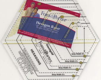 Fons & Porter Hexagon Ruler, Hexagon Template - Includes a sample pattern -   Finished size 2-6 inches