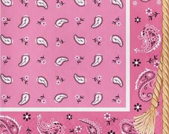 Cowgirl birthday party napkins, Pink bandana beverage napkins l, Wild West, dinnerware