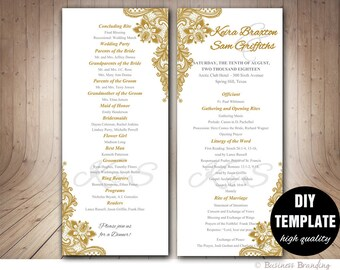 Gold Wedding Program Template DI, Instant Download Elegant Wedding Program,Lace Wedding Program,Printable Wedding Program