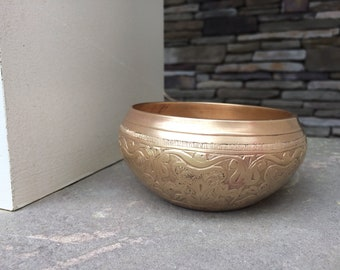 Antique Etched Bronze Bowl