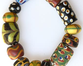 13 Mixed Antique Venetian Trade Beads - Vintage African Trade Beads - #8348