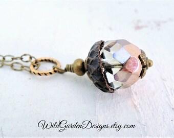 Acorn Pendant Necklace Rose Gold Glass Acorn Rustic Woodland Jewelry Good Luck Prosperity Symbol Encouragement Gift Long Acorn Pendant