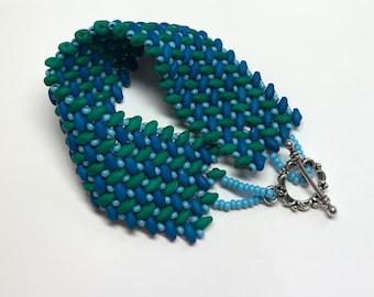 Green and Blue Herringbone Superduo Beaded Bracelet