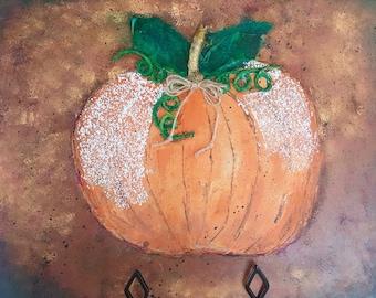 Pumpkin mixed media painting on board, Halloween pumpkin painting, Pumpkin decor, fall decor, autumn  decor