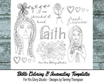 "Bible journaling printable  ""I am Cherished""  - #28 - black and white, bookmarks, coloring, bible verses, journaling, margin templates"