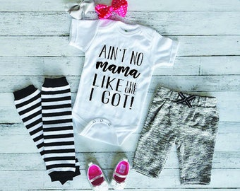 Funny Baby Onesie - Cute Baby Onesie - Baby Shower Gift - New Baby Gift - Baby Onesie With Sayings - Aint No Mama