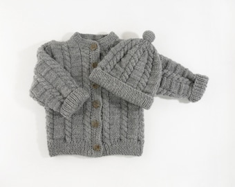 Hand Knitted Baby Cardigan and Hat - Grey, 2T
