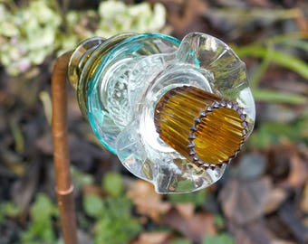 Title: Handmade Glass plate flower garden art from vintage glassware, light turquoise, amber and clear