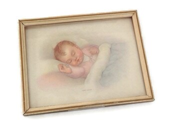 Vintage Baby Picture, Framed Print, Baby Asleep, 1930's, Art Pub Co. Chicago, Sweet Pink and Blue, Baby Room Decor